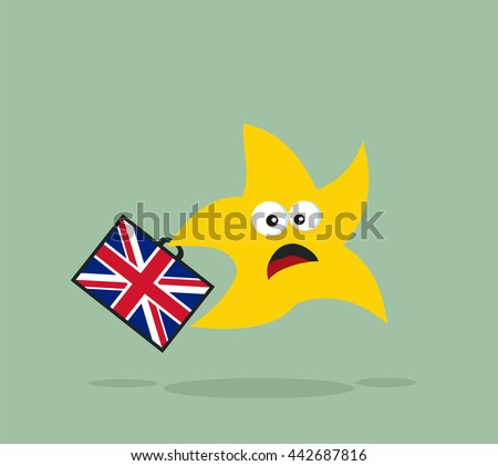 Scared Star Running With Briefcase And United Kingdom Flag Flat Design Style. Vector Illustration With Background - stock vector