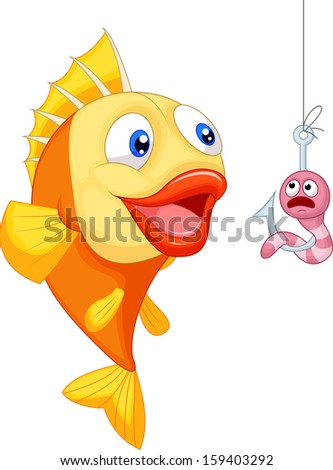 Scared worm with hungry fish