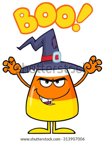 Scaring Halloween Candy Corn With A Witch Hat And Text. Vector Illustration Isolated On White - stock vector