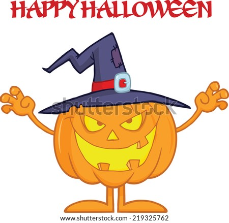 Scaring Halloween Pumpkin With A Witch Hat And Text - stock vector