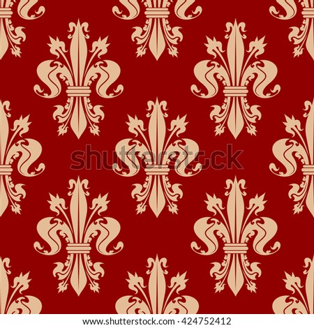Scarlet red seamless fleur-de-lis pattern with pale peach ornamental curly leaves and spiky flower buds of royal lilies. Vintage interior and upholstery design usage - stock vector