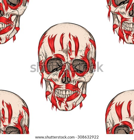 Scary blood skull. White background. Seamless pattern background