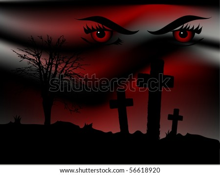 Scary bloody night and the predator eyes - stock vector