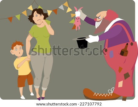 Scary clown with a bottle of liqueur in his pocket and a dead bunny in a magic hat showing a trick to a scared mother and a boy, vector cartoon - stock vector