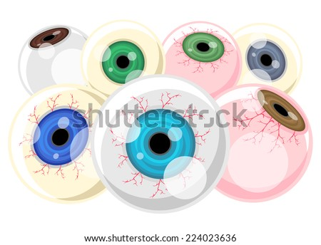 Scary Eyeballs vector - stock vector