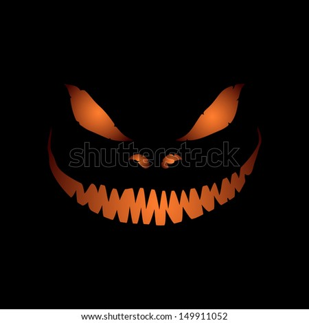 Scary face isolated on black background. Illustration for halloween. Scary pumpkin face. Vector illustration - stock vector