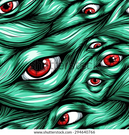Scary fantasy pattern background.Hair and eyes.Red eyes in green hair. - stock vector