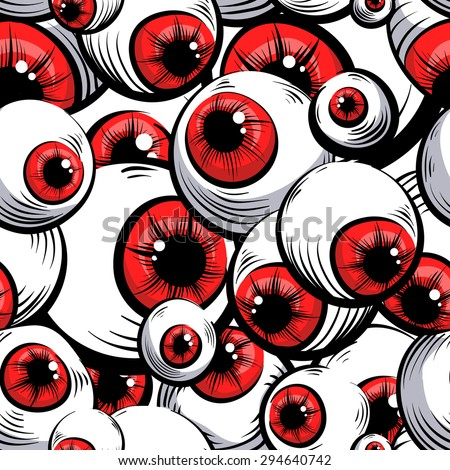 Scary fantasy pattern background.Red eyes . - stock vector