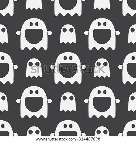 Scary Funny Ghost Spirit Seamless Pattern Background In Black And White.  Halloween Holiday Wallpaper.
