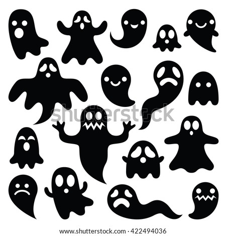 Scary ghosts design, Halloween characters  icons set - stock vector