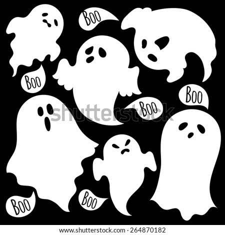 Scary ghosts. Set. - stock vector