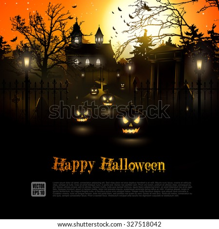Scary graveyard and farmhouse in the woods - Halloween background