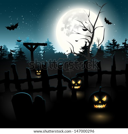 Scary graveyard at night - Halloween background  - stock vector