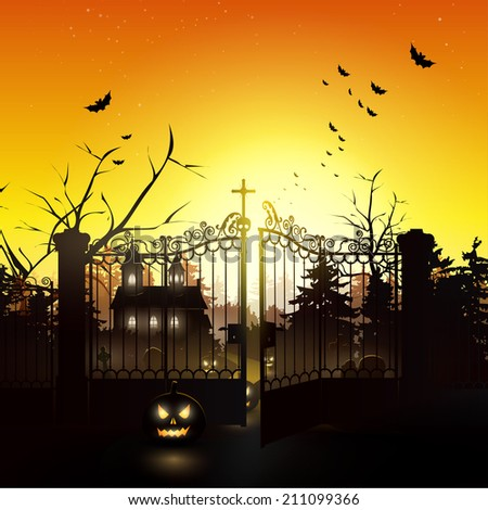 Scary graveyard in the woods - Halloween background - stock vector