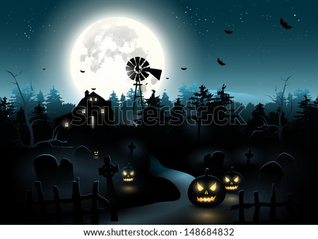 Scary graveyard in the woods - Halloween poster - stock vector