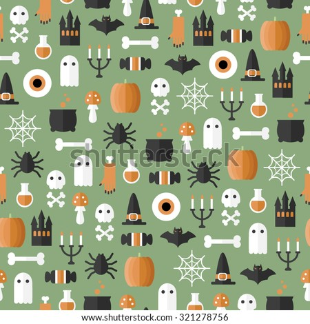 Scary Halloween backdrop. Horror objects on green background. Bright funny party card.  - stock vector