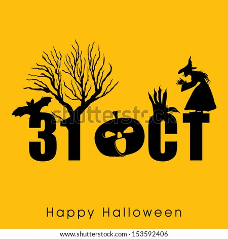 Scary Halloween background, banner or poster for trick or treat party with text 31 October, dead tree and an old witch.  - stock vector