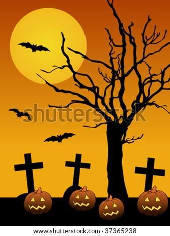 Scary halloween background with moon, tree, pumpkins, graves and bats. Vector file available - stock vector