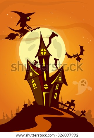 Scary Halloween house on night background with a full moon behind - Vector illustration - stock vector