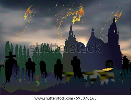 scary halloween landscape with cemetery tombstones old church and silhouettes of trees dark