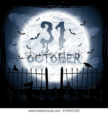 Scary Halloween night scene, crows in the cemetery, illustration. - stock vector