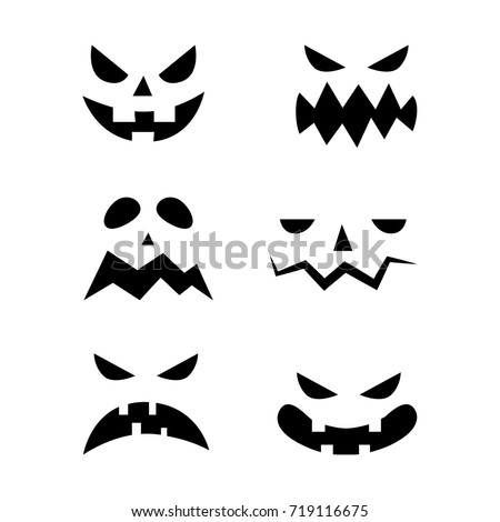 Scary Halloween Pumpkin Faces Icons Set Stock Vector 719116675 ...