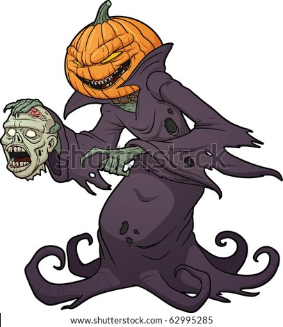 Scary Halloween pumpkin monster holding a severed zombie head. Vector illustration with simple gradients. - stock vector