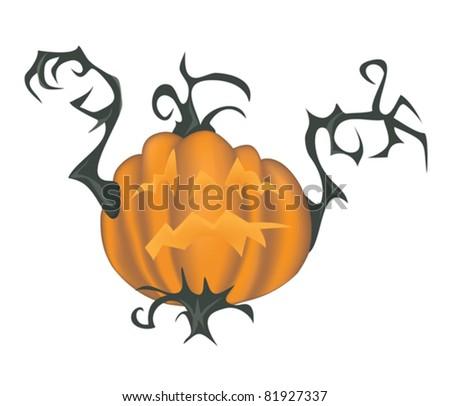 Scary halloween pumpkin - vector illustration isolated on white - stock vector