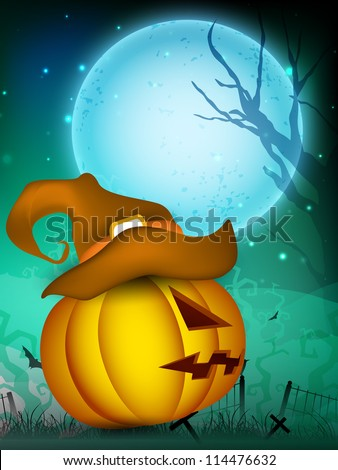 Scary Halloween pumpkin wearing witch hat on moonlight night background. EPS 10. - stock vector