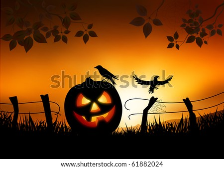 Scary Halloween themed vector background - stock vector