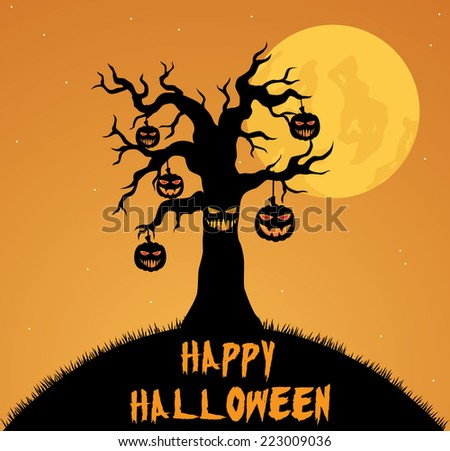 Scary Halloween Tree With Hanging Pumpkin And Orange Background - stock vector