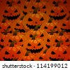 scary jack o lantern halloween seamless pattern vector - stock photo
