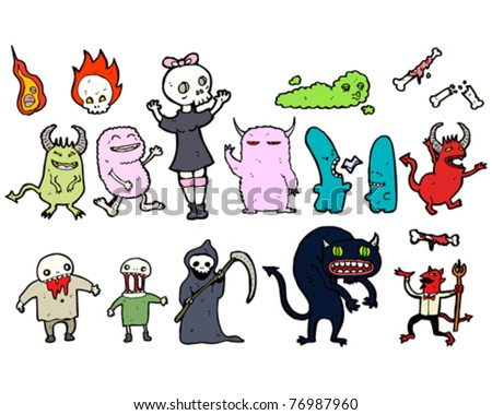 scary monsters, super creeps cartoon collection - stock vector