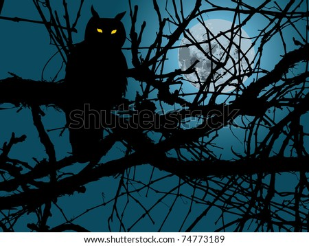 scary moonlight forest background with silhouette of owl - stock vector