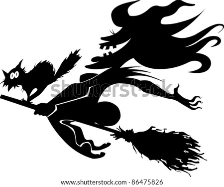 scary old witch on a broomstick in the air