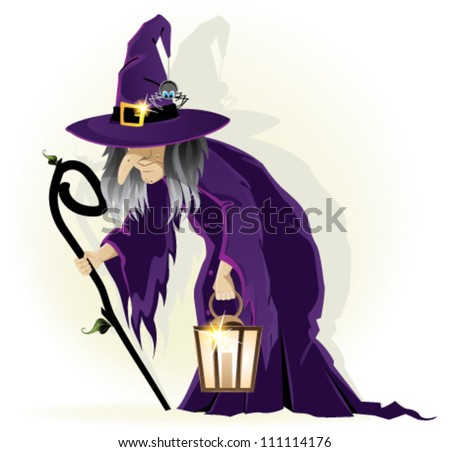 Scary old witch with a lantern on a white background. Cartoon Halloween character - stock vector