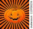 Scary Pumpkin Jack O' Lantern on radial background - stock vector