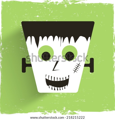 Scary vampire on grungy green background, poster, banner or flyer design for Happy Halloween party celebration.  - stock vector