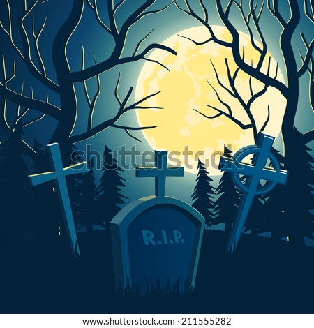 Scary vector halloween background with old graveyard, full moon and trees - stock vector