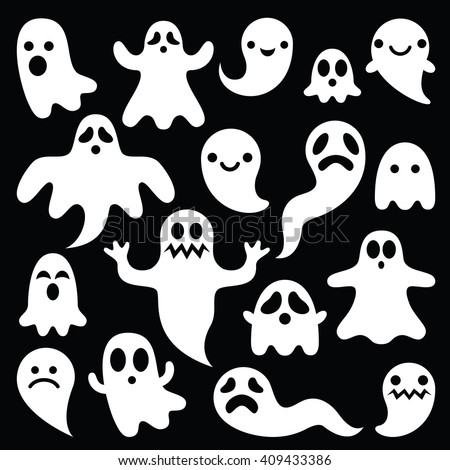 Scary white ghosts design on black background - Halloween celebration - stock vector