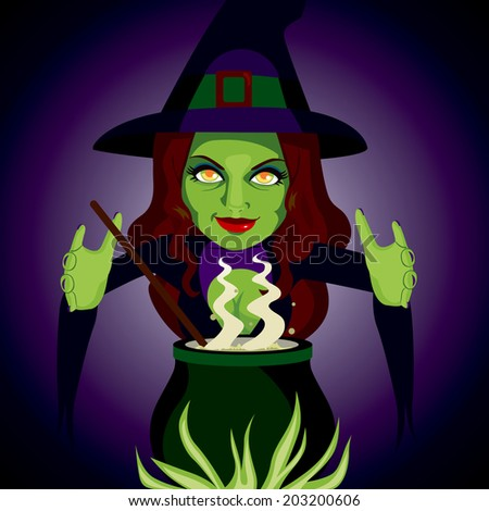 Scary witch making sorcery spells and potions with her magic cauldron - stock vector