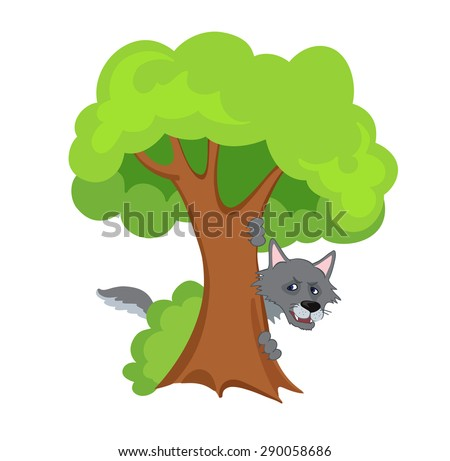 Scary wolf hiding behind a tree.Vector illustration - stock vector