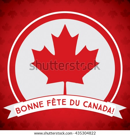 """Scatter Canada Day maple leaf card in vector format. Translation: 'Happy Canada Day"""" - stock vector"""