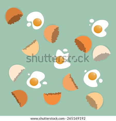 Scattered cracked eggs on the green background - stock vector
