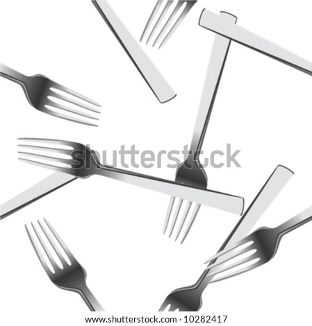 Scattered forks.Seamless vector in any direction. - stock vector