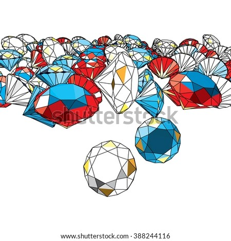 Scattered Jewellery with Coloured Diamonds on White. Vector Illustration. - stock vector