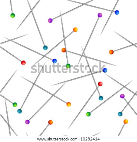 Scattered pins with colorful heads.Seamless vector in any direction. - stock vector