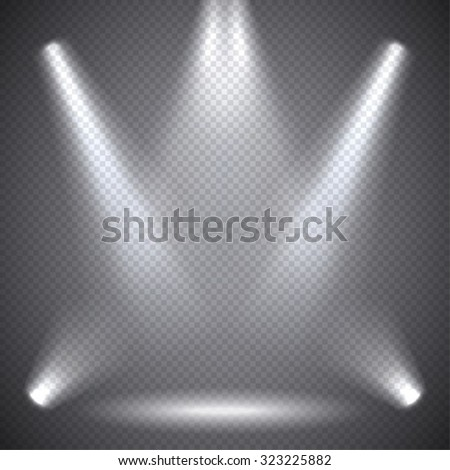 Scene illumination, transparent effects on a plaid dark  background. Bright lighting with spotlights. - stock vector