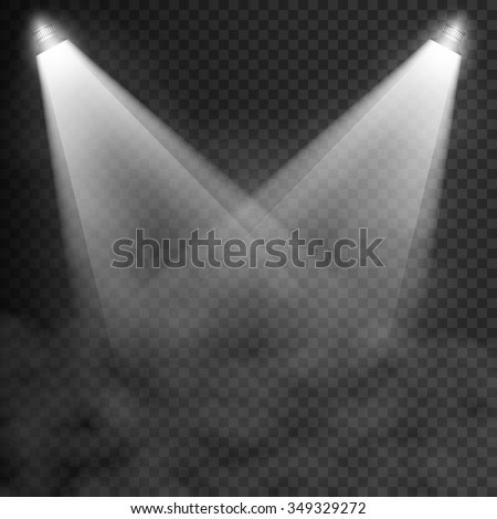 Scene illumination, transparent effects on a plaid dark  background. Bright lighting with isolated spotlights. Vector EPS10 - stock vector