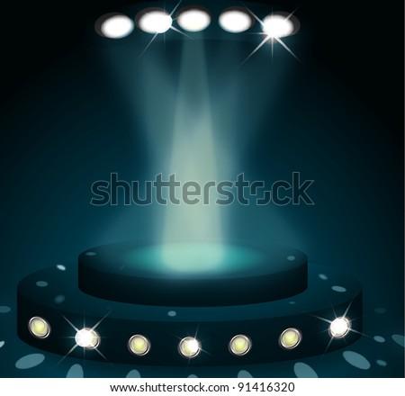 scene lit by spotlights on blue background - stock vector